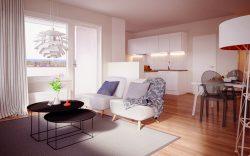 Kotikatu365-konsepti tarjoaa asumismukavuutta. Kuvassa esimerkkikuva olohuoneesta.