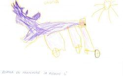 Päiväkoti Touhulan Olivian piirros kaivinkoneesta ja auringosta